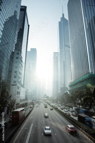 Fototapeta Hong Kong Business District in sunset time