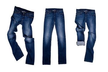 three blue jeans