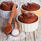 fresh baked browny cakes, sugar and cocoa powder