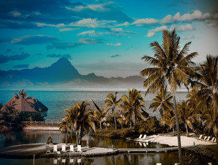 A sunset over ocean and   mountain. Polynesia. Tahiti,