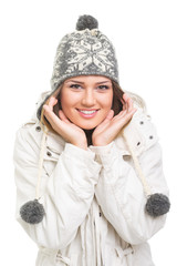 Lovely teenage girl wearing winter clothes posing