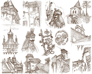 ROMANIA - Collection of an hand drawn illustrations