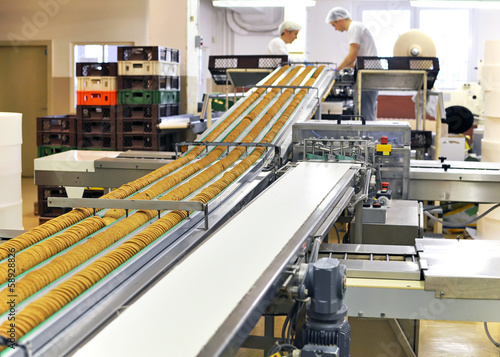 canvas print picture Lebensmittelindustrie Keksherstellung / food production
