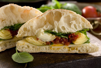 ciabatta sandwich with sun-dried tomato pesto