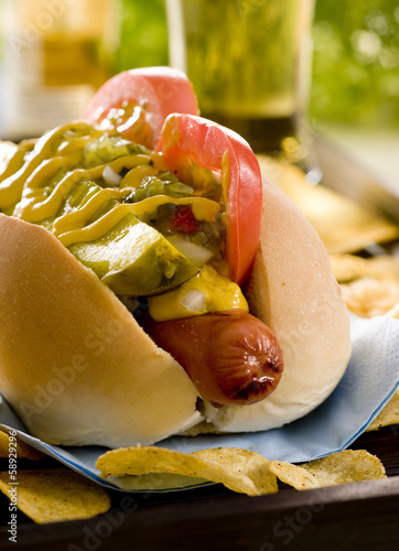 Closeup of a hot dog.