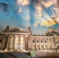 Berlin, The Reichstag. Frontal view the building in a beautiful