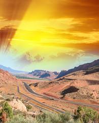 Beatiful road across the canyon - USA National Park