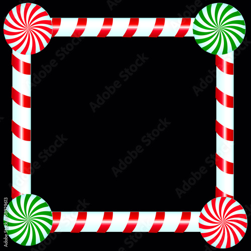 Christmas Candy Frame Over Black