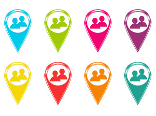 Set of icons or colored markers with people symbol