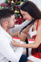 couple in love on Christmas night