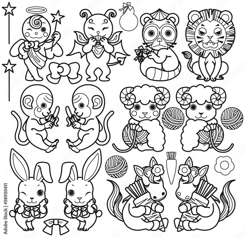天使と悪魔と動物キャラクター(狸・ライオン・猿・羊・うさぎ・馬