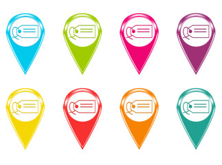 Set of icons or colored markers with label symbol
