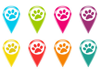 Set of icons or colored markers with pet footprints symbol