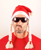 Puzzled man with Santa hat for Christmas