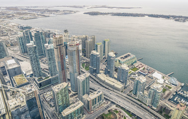 Toronto skyscrapers at waterfront on Ontario Lake - Overview fro