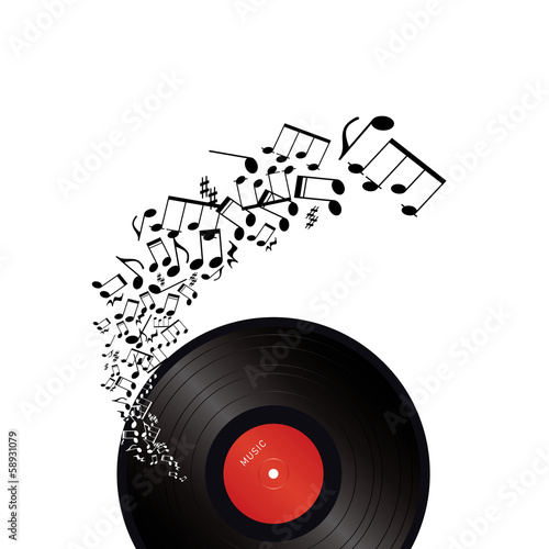 vinyl with music notes on white background - 58931079