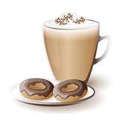 cup of cappuccino with donuts