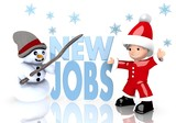 new jobs sign presented by snowman and Santa claus