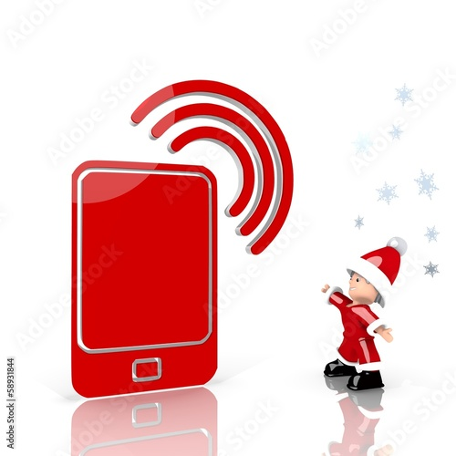 mini santa claus with giant smart phone label