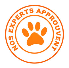nos experts approuvent sur bouton web rond orange