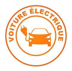 voiture électrique sur bouton web rond orange