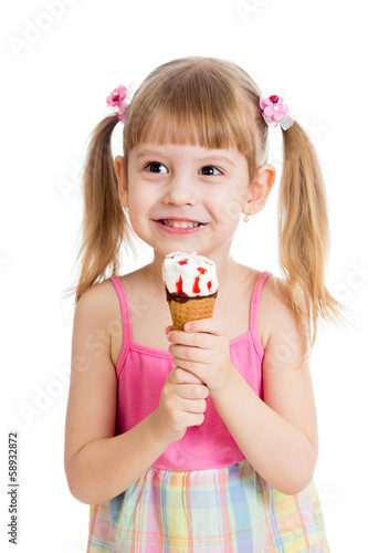 joyful child girl with ice-cream isolated on white