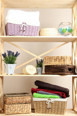 Beautiful white shelves with different home related objects,