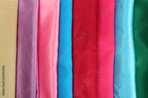 heap of cloth fabrics, close up