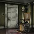 Stary wózek inwalidzki w opuszczonym pokoju