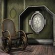 Zakurzony pokój z fotelem bujanym