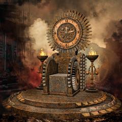 Baśniowy tron z zegarem