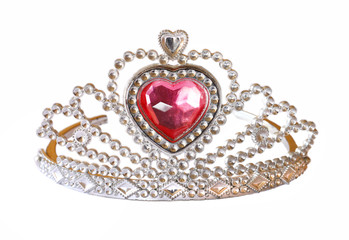 Toy tiara with pink diamond. toy crown