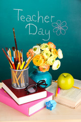 School supplies and flowers