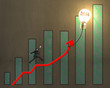 Businessman jumping on growth arrow with bar chart, glowing lamp