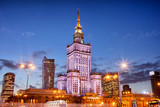 Palace of Culture and Science at Dusk in Warsaw