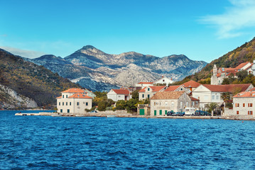 Bay of Kotor and  Lepetane village. Montenegro, winter