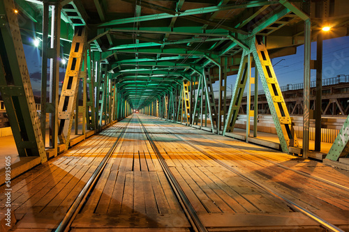Steel Truss Bridge Tramway at Night