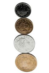 Four coins balanced on each other
