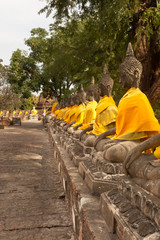 alignement de bouddhas à ayutthaya, Thaïlande