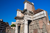 Remains of the peristyle of the Temple of Minerva. Rome, Italy.