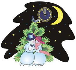 Snowmen kiss on New Year's Eve