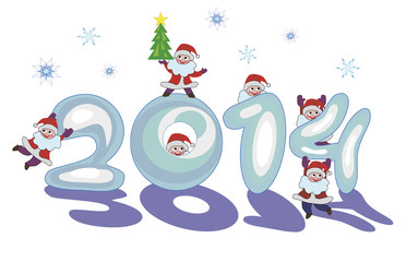 sign 2014 made of snow by Santa Claus