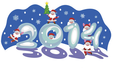 "Santa Clauses shape the sign ""2014"" from snow"
