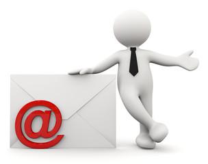omino bianco con lettera e simbolo E-mail