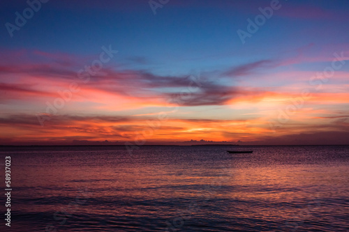 View of sunset on Zanzibar Island