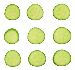 Sliced cucumber pieces isolated