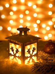 Christmas lantern with snowflakes