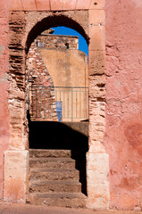 Arc stairs passage in Roussillon village in France
