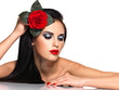 Face of  the  beautiful woman with  bright fashion makeup