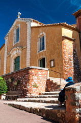 Fachade of Eglise Saint Michel at Roussillon in France